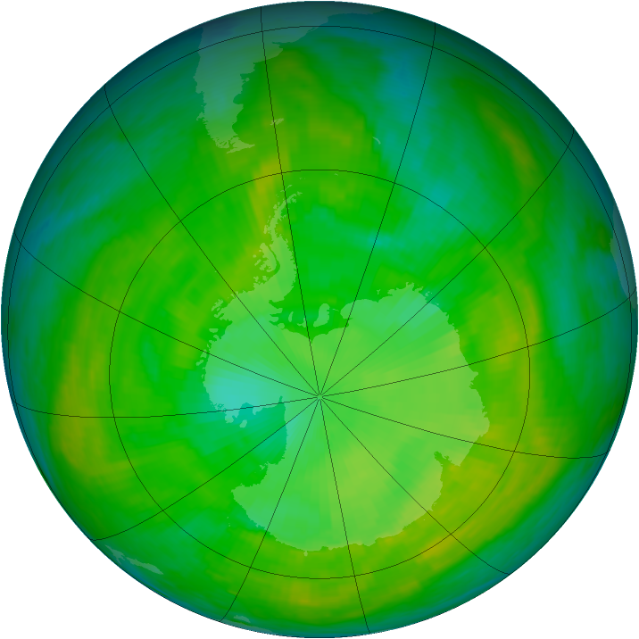 Antarctic ozone map for 19 December 1988